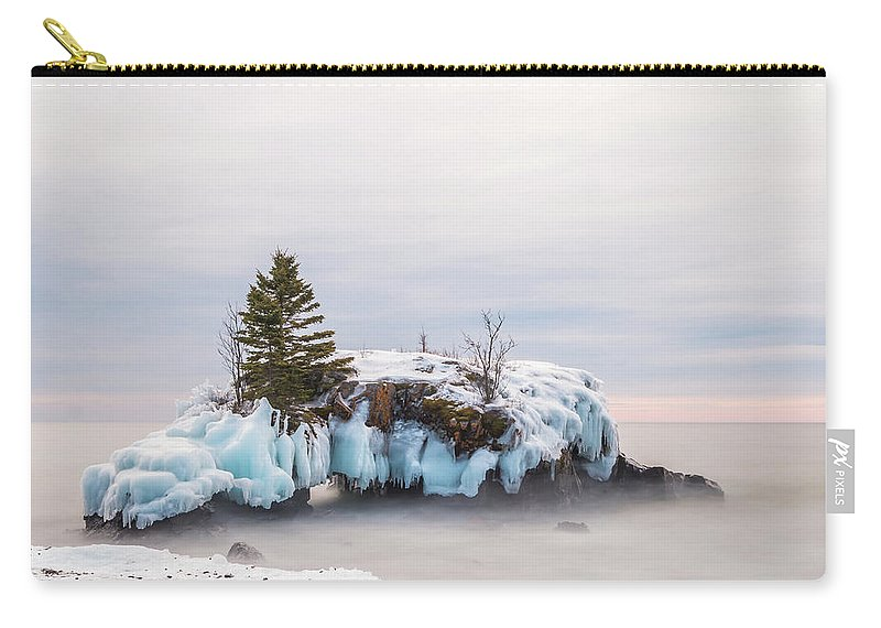 Hollow Rock Carry-all Pouch featuring the photograph Hollow Rock Winter by Linda Ryma