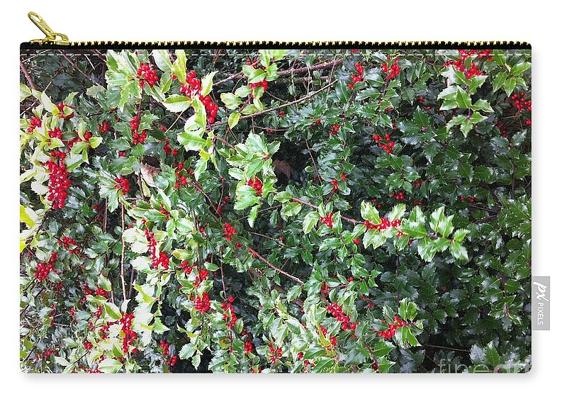 Holly Berries Carry-all Pouch featuring the photograph Holly Berries by Barbara Griffin