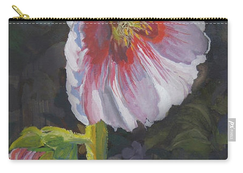 Flower Carry-all Pouch featuring the painting Hollyhock by Heather Coen