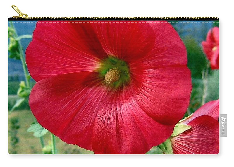 Hollyhocks Carry-all Pouch featuring the photograph Hollyhock Hill by Will Borden