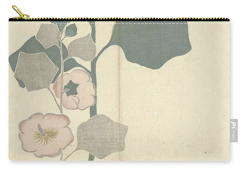 Art Carry-all Pouch featuring the painting Hollyhock, Nakamura Hochu, 1826 by Nakamura Hochu