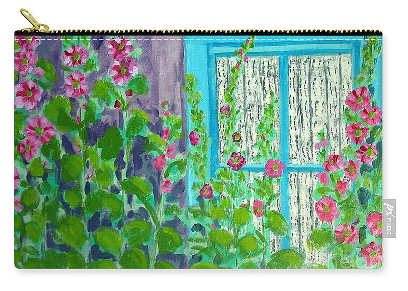 Hollyhocks Carry-all Pouch featuring the painting Hollyhock Surprise by Laurie Morgan