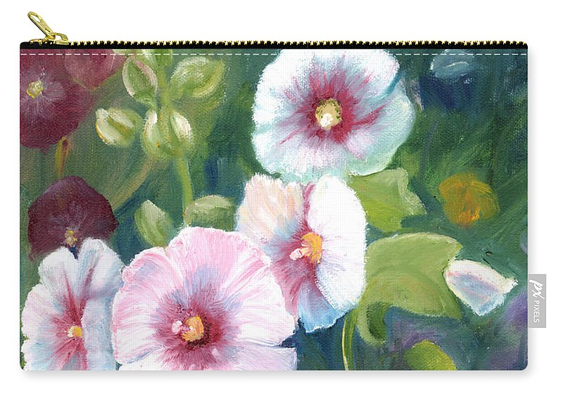 Hollyhocks Carry-all Pouch featuring the painting Hollyhocks by Renate Nadi Wesley