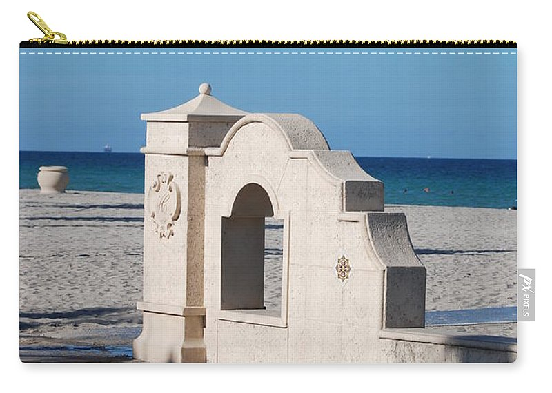 Beach Carry-all Pouch featuring the photograph Hollywood Beach Wall In Color by Rob Hans