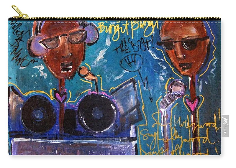 Blue Carry-all Pouch featuring the painting Hollywood Holt Plays Monolith by Laurie Maves ART