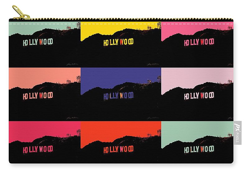 Hollywood Carry-all Pouch featuring the digital art Hollywood Poster Art by Tommy Anderson