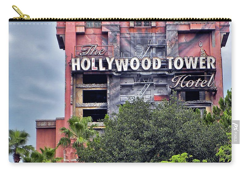 Tower Of Terror Carry-all Pouch featuring the photograph Hollywood Tower Hotel Walt Disney World MP by Thomas Woolworth