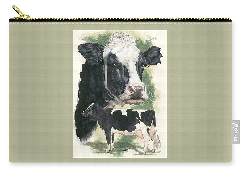 Cow Carry-all Pouch featuring the mixed media Holstein by Barbara Keith