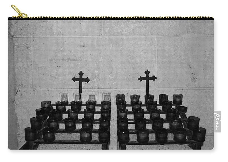 Black And White Carry-all Pouch featuring the photograph Holy Candles.... by Rob Hans