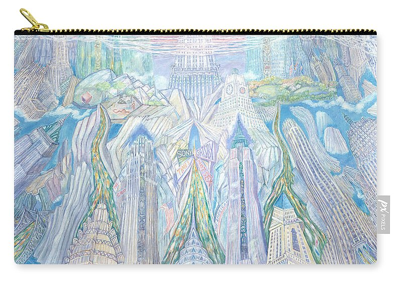 New York Cityscape Carry-all Pouch featuring the painting Homage To New York And The Chrysler Building by Patricia Buckley