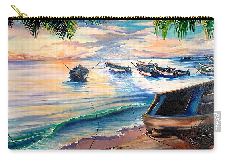 Ocean Painting Caribbean Painting Seascape Painting Beach Painting Fishing Boats Painting Sunset Painting Blue Palm Trees Fisherman Trinidad And Tobago Painting Tropical Painting Carry-all Pouch featuring the painting Home From The Sea by Karin Dawn Kelshall- Best