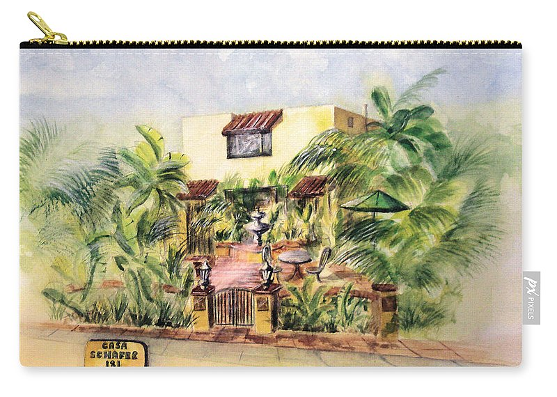 Watercolors For Sale Carry-all Pouch featuring the painting Home On Belmont Shore by Debbie Lewis