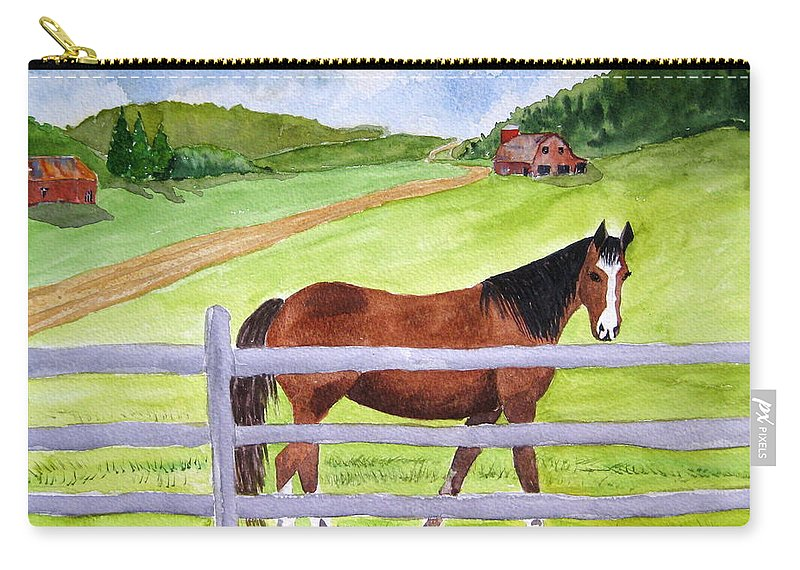 Horse Carry-all Pouch featuring the painting Home On The Farm by Julia RIETZ
