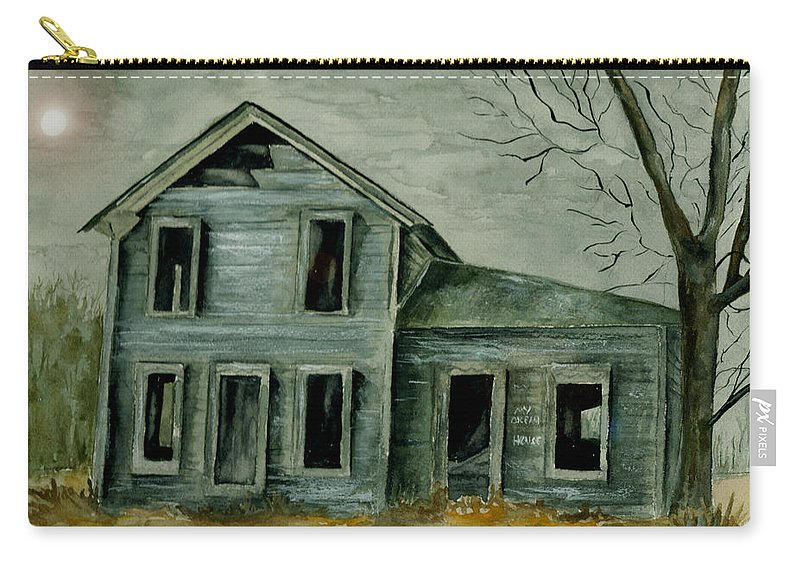 Landscape Watercolor House Ruin Moon Trees Sky Carry-all Pouch featuring the painting Home Sweet Home by Brenda Owen