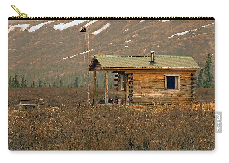 Log Cabin Carry-all Pouch featuring the photograph Home Sweet Fishing Home In Alaska by Denise McAllister