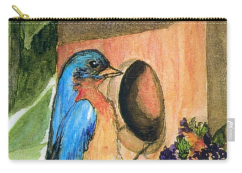 Bluebirds Carry-all Pouch featuring the painting Home Sweet Home by Gail Kirtz