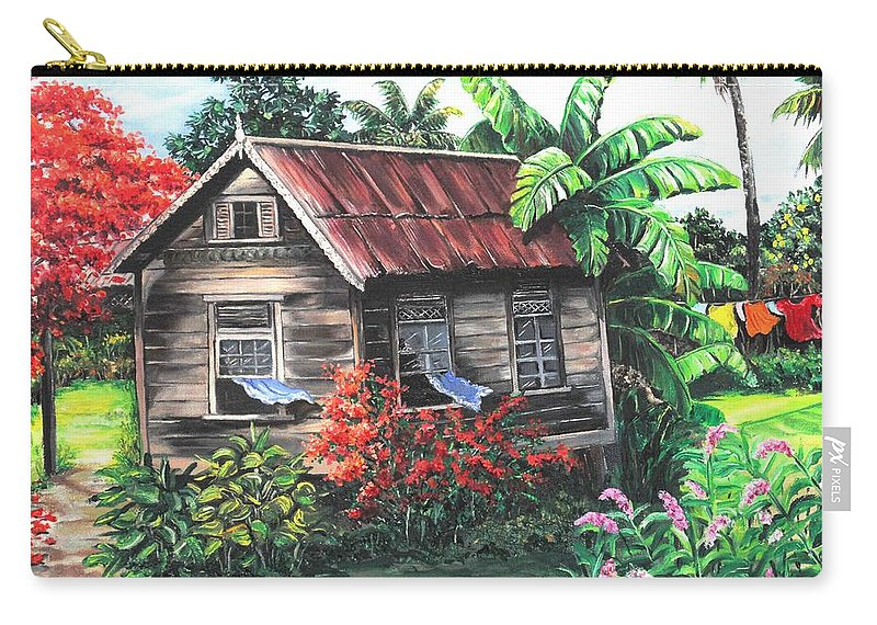 Caribbean House Carry-all Pouch featuring the painting Home Sweet Home by Karin Dawn Kelshall- Best