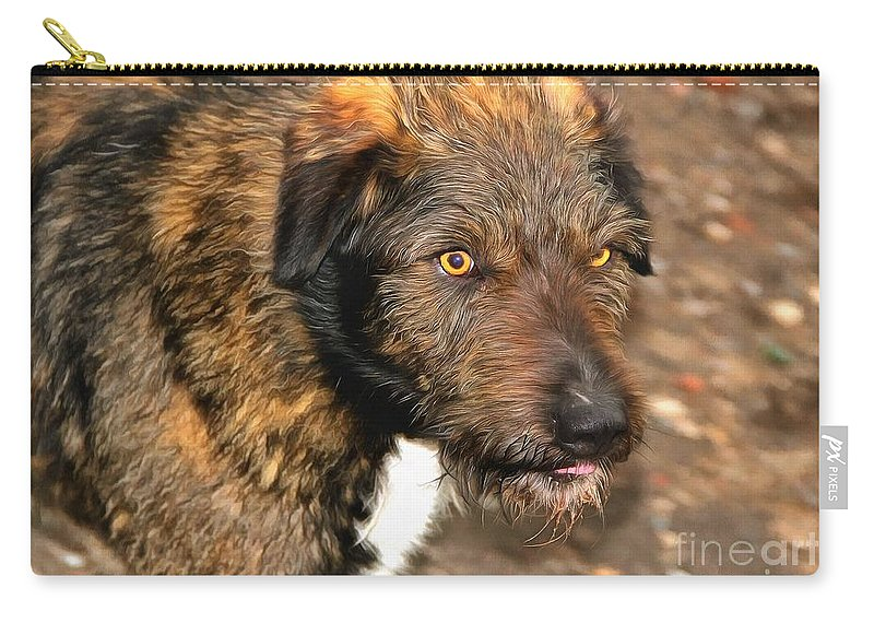 Street Dog Carry-all Pouch featuring the digital art Homeless Dog Charlick by Sergey Lukashin