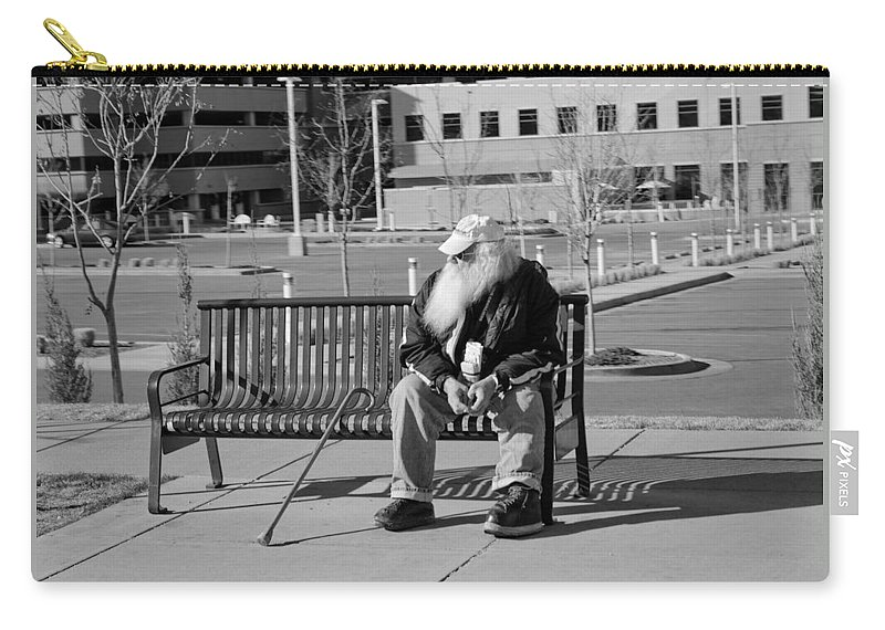 Portrait Carry-all Pouch featuring the photograph Homeless Man by Angus Hooper Iii