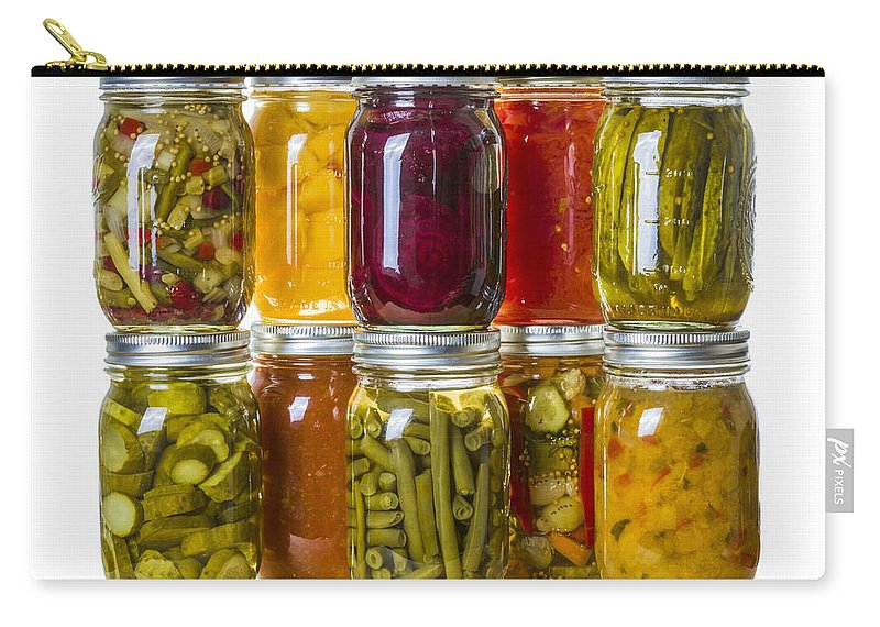 Food Carry-all Pouch featuring the photograph Homemade Preserves And Pickles by John Trax