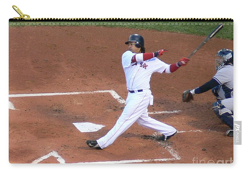 Manny Carry-all Pouch featuring the photograph Homerun Swing by Kevin Fortier