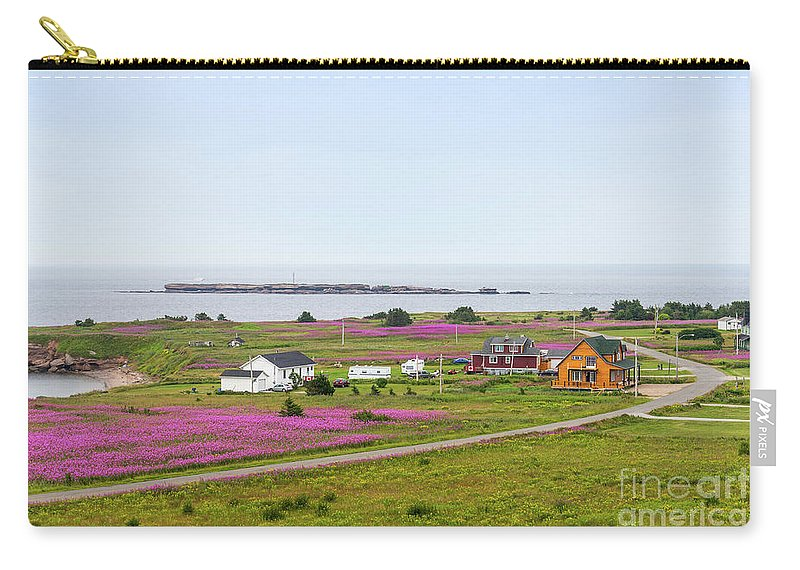 Sea Carry-all Pouch featuring the photograph Homes And Flowers On The Atlantic Coast In Gaspe by Les Palenik