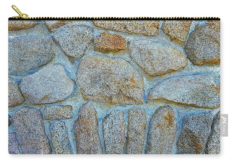 Outdoor Wall Of Designed Granite Stones Carry-all Pouch featuring the photograph Homestead Stonework by Harriet Harding