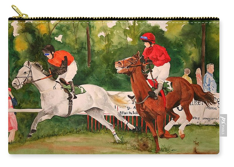 Racing Carry-all Pouch featuring the painting Homestretch by Jean Blackmer