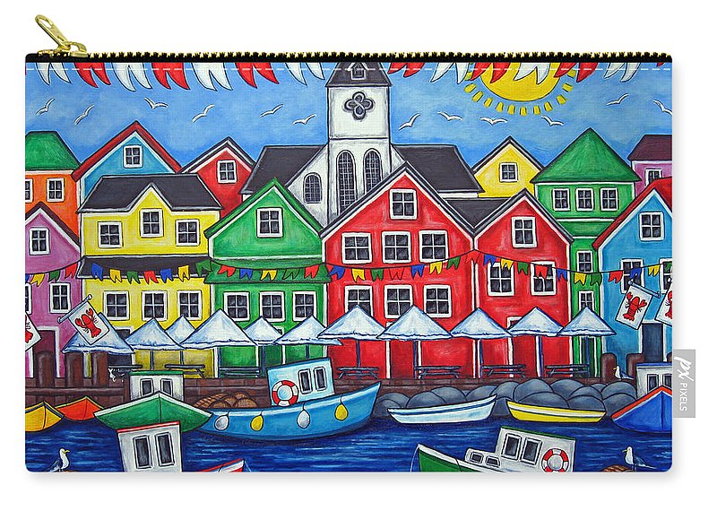 Boats Canada Colorful Docks Festival Fishing Flags Green Harbor Harbour Carry-all Pouch featuring the painting Hometown Festival by Lisa Lorenz