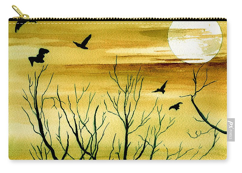 Landscape Watercolor Birds Ravens Crows Trees Sun Sunset Sky Clouds Carry-all Pouch featuring the painting Homeward by Brenda Owen
