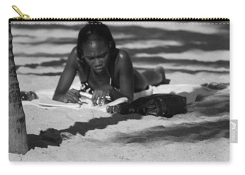 Black And White Carry-all Pouch featuring the photograph Homework At The Hollywood Beach by Rob Hans