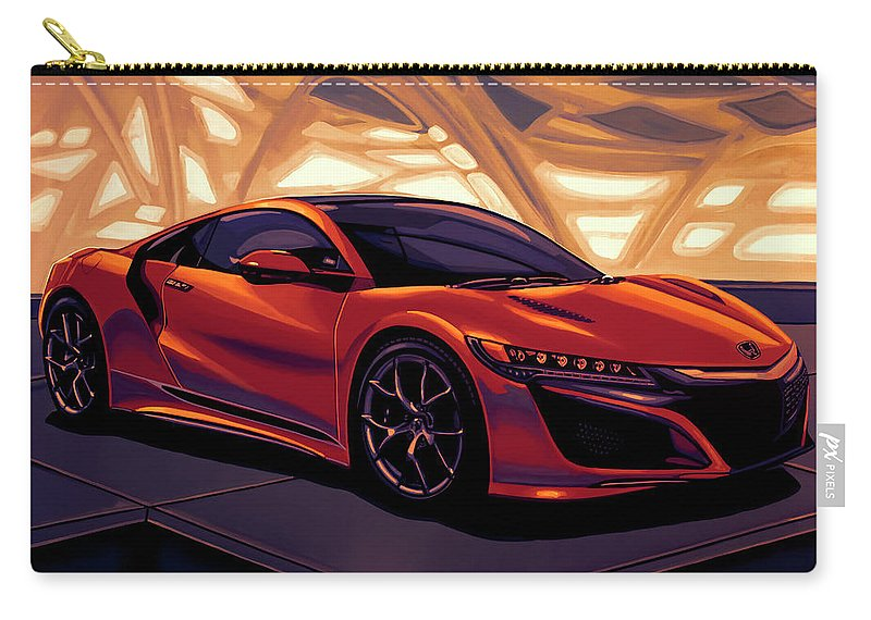 Honda Nsx Carry-all Pouch featuring the mixed media Honda Acura Nsx 2016 Mixed Media by Paul Meijering