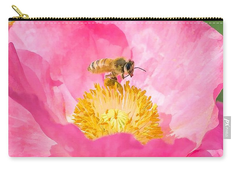 Flower Carry-all Pouch featuring the painting Honey Bee Collecting Pollen by Jeelan Clark