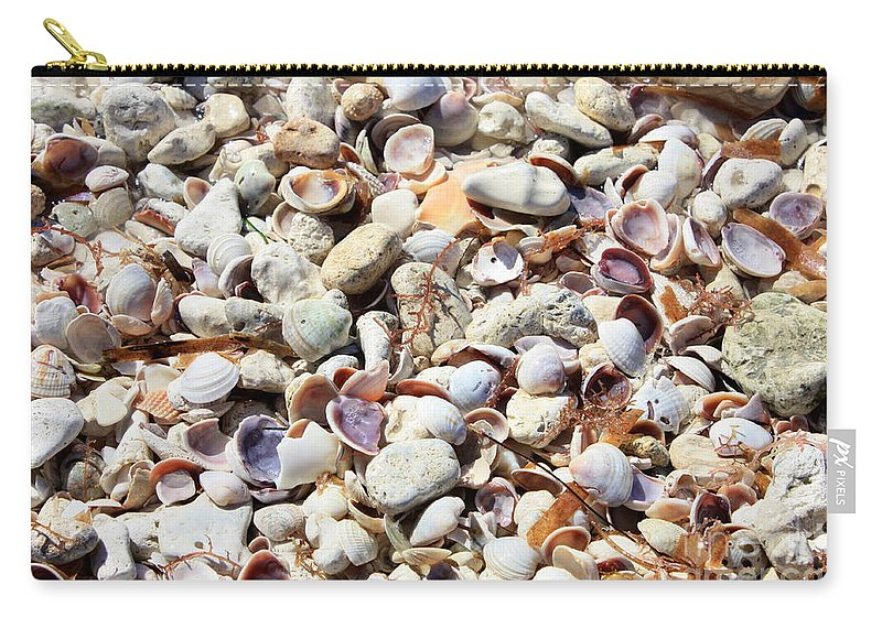 Shells Carry-all Pouch featuring the photograph Honeymoon Island Shells by Carol Groenen