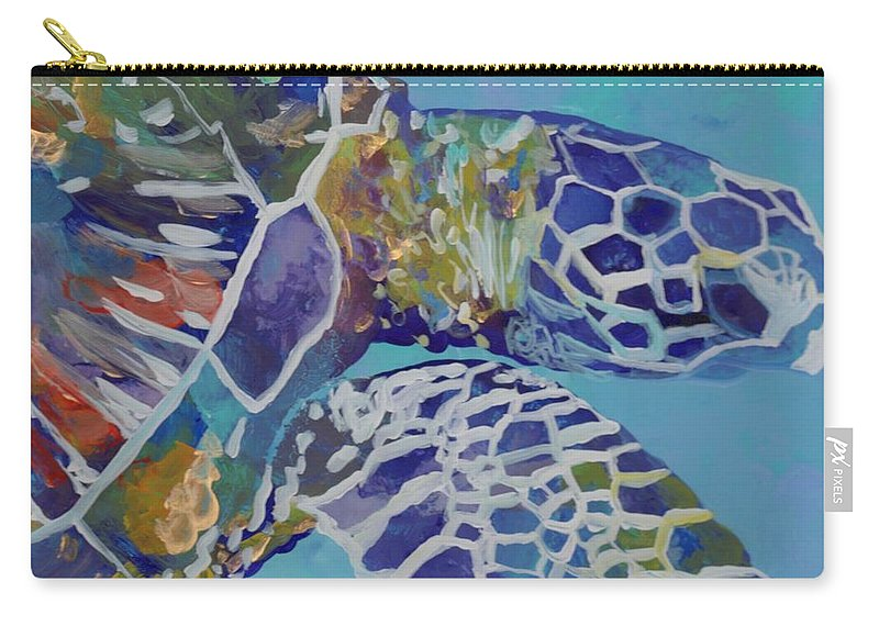 Honu Carry-all Pouch featuring the painting Honu by Marionette Taboniar