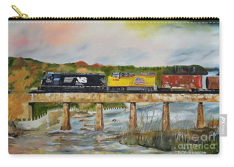 Norfolk Southern Carry-all Pouch featuring the painting Hooch - Chattahoochee River - Columbus Ga by Jan Dappen