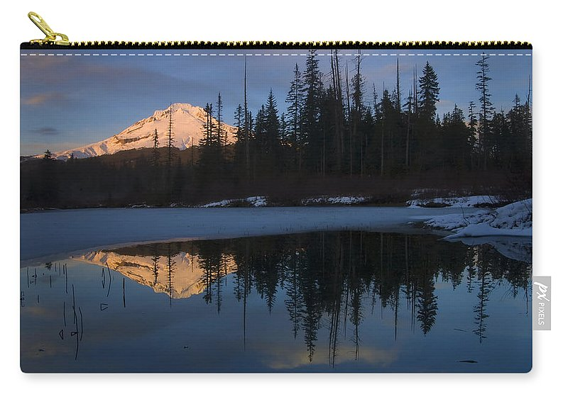 Mt. Hood Carry-all Pouch featuring the photograph Hood Alpenglow by Mike Dawson