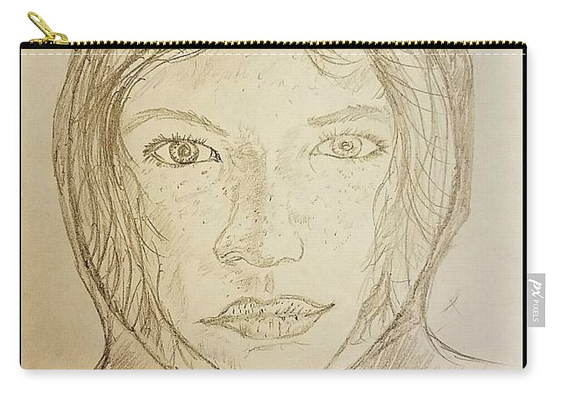 Girl Carry-all Pouch featuring the drawing Hooded Girl by Richard Howell