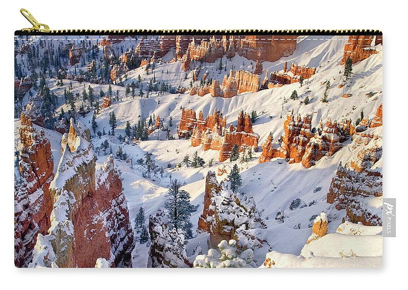 North America Carry-all Pouch featuring the photograph Hoodoos And Fir Tree In Winter Bryce Canyon Np Utah by Dave Welling