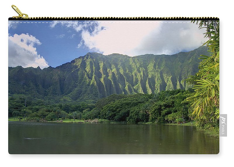 Hoomaluhia. Botanical Carry-all Pouch featuring the photograph Hoolanluhia Botanical Garden by Michael Peychich