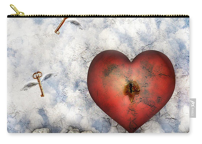 Heart Carry-all Pouch featuring the digital art Hope Floats by Jacky Gerritsen