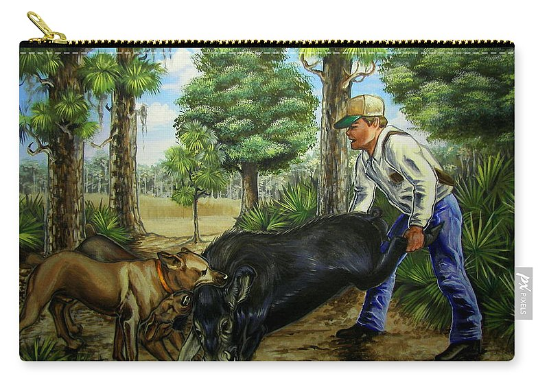 Hog Carry-all Pouch featuring the painting Horace's Hunt by Monica Turner