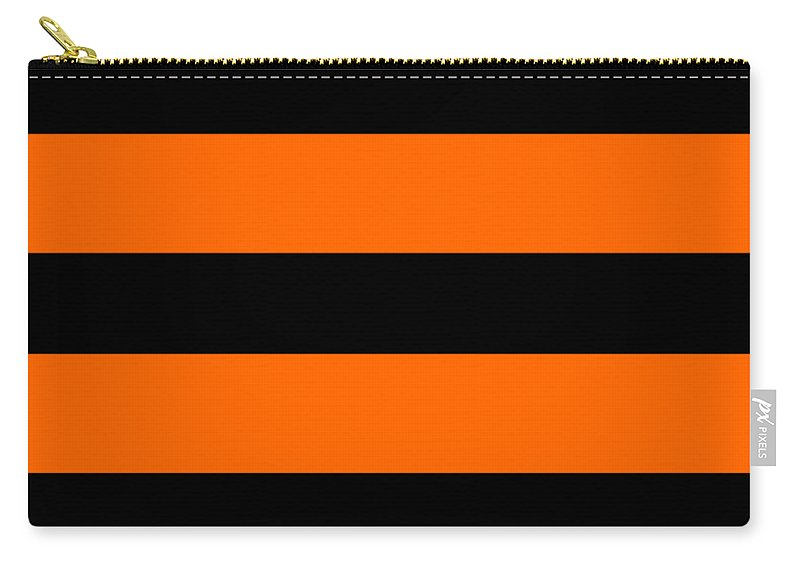 Stripes Carry-all Pouch featuring the digital art Horizontal Black Inside Stripes 03-p0169 by Custom Home Fashions