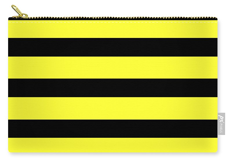 Stripes Carry-all Pouch featuring the digital art Horizontal Black Inside Stripes 05-p0169 by Custom Home Fashions