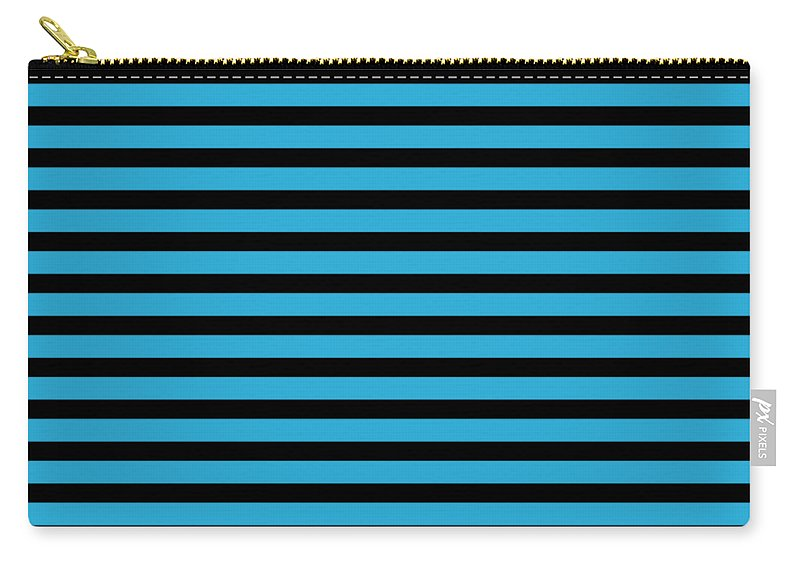 Stripes Carry-all Pouch featuring the digital art Horizontal Black Inside Stripes 18-p0169 by Custom Home Fashions