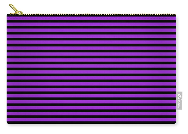 Stripes Carry-all Pouch featuring the digital art Horizontal Black Inside Stripes 30-p0169 by Custom Home Fashions