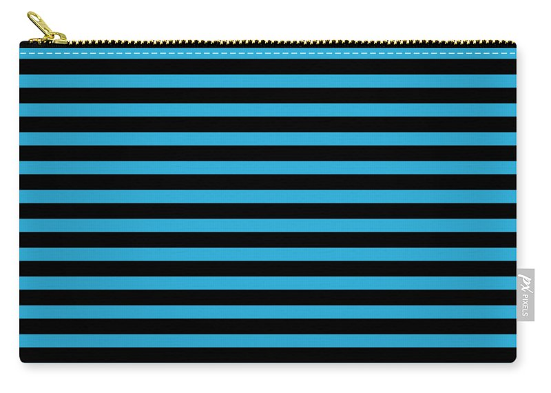 Stripes Carry-all Pouch featuring the digital art Horizontal Black Outside Stripes 18-p0169 by Custom Home Fashions