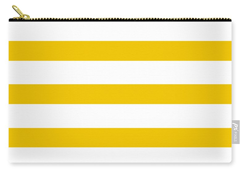 Stripes Carry-all Pouch featuring the digital art Horizontal White Outside Stripes 05-p0169 by Custom Home Fashions