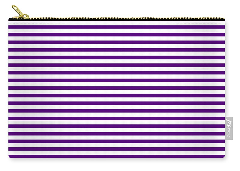 Stripes Carry-all Pouch featuring the digital art Horizontal White Outside Stripes 30-p0169 by Custom Home Fashions