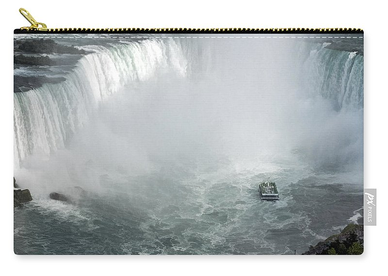 Horseshoe Niagara Falls Carry-all Pouch featuring the photograph Hornblower Ferry At Horseshoe Falls by Ginger Wakem